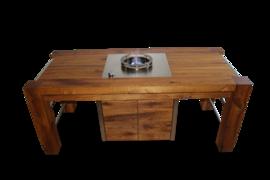 Die Master Version des Bofun Brenners, verbaut in einen eleganten, individuell angefertigten Holztisch